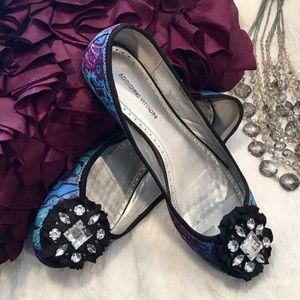 AdrienneVittadini PurpleTeal Jeweled Ballet Flats